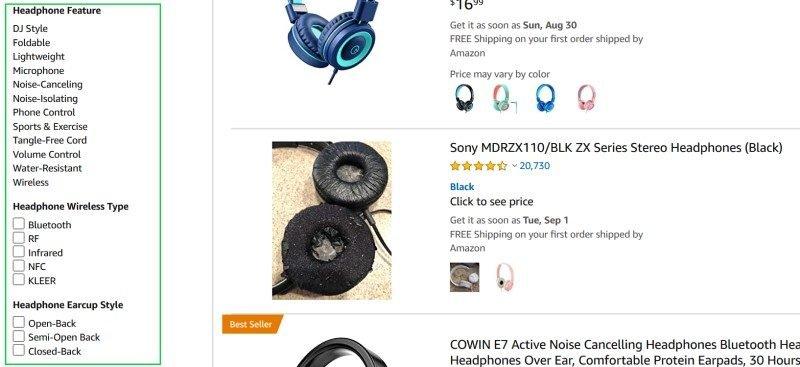 Amazon Headphones Search